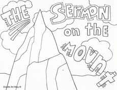 Sermon On The Mount Bible Coloring Page For Kids To Learn