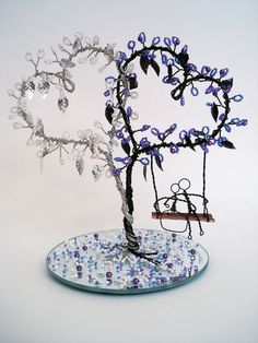 Double Heart Wire Art Tree - Wedding Decoration, Cake Topper, Bridal Shower Gift