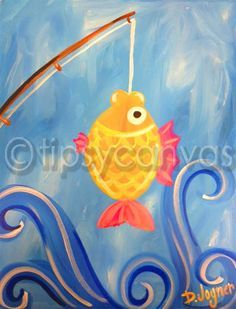 Fish painting whimsical original art acrylic on 16 x 20 for Painting with a twist charlotte nc