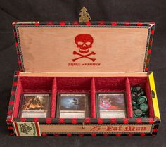 Super limited Skull and Bones Fat Man Deck Box Diy Card Box, Deck Box, Fat Man, Wooden Decks, Skull And Bones, Magic The Gathering, Mtg, Tabletop, Wood Crafts