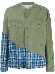 9207cdb21d GREG LAUREN GREG LAUREN PATCHWORK BUTTON SHIRT - GREEN. #greglauren #cloth