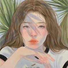 Art Anime, Anime Art Girl, Aesthetic Art, Aesthetic Anime, Aesthetic Drawing, Pretty Art, Cute Art, Korean Art, Portrait Art