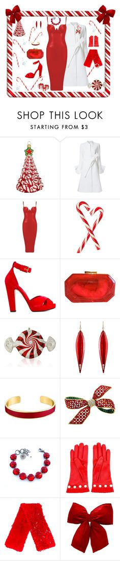 """""""Candy Cane"""" by bitterfrench on Polyvore featuring Joy To the World, Goen.J, Alexander McQueen, Juicy Couture, Judith Leiber, Mark Davis, VANINA, Gucci, Ashish and National Tree Company"""