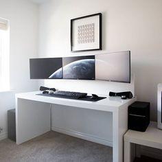 By Jespyy  Desk - 3x Dell U2414H Monitors - Xbox One Lunar White Controller - Corsair K70 RGB - Logitech MX Master - Edifier M3200 Speakers - Ikea Malm mate