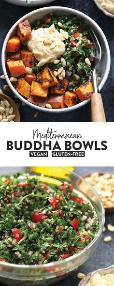 Meal prep your way into the new year with this amazingly colorful Mediterranean Vegan Buddha Bowl Recipe This vegan meal is packed with delicious plantbased ingredients s. Healthy Meal Prep, Healthy Eating, Healthy Vegan Meals, Healthy Protein, Dieta Vegan, Vegetarian Recipes, Healthy Recipes, Mediterranean Recipes, Mediterranean Sweet Potatoes