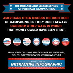The Dollars and Senselessness of Political Campaigning – How would you spend billion dollars? Americans often discuss the high cost of campaigns. Learn how this money could have been spent, and then create and share your own way of spending it. Viral Marketing, Marketing And Advertising, Content Marketing, Social Media Marketing, Interactive Infographic, Marketing Magazine, Us Election, Political Campaign, Augmented Reality