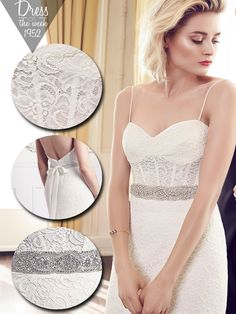 Style * 1952 * » Bridal Gowns, Wedding Dresses » Spring 2015 Collection » by Mikaella Bridal » Available Colours : Natural ~ Shown removable Sash with Beaded Embellishment at waist (close up)