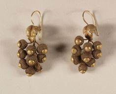 Pair of hair earrings, ca. 1860 | In the Swan's Shadow