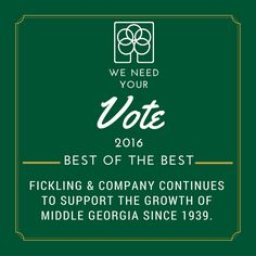 Vote #FicklingandCo as the Best of the Best Residental Real Estate Company for 2016 - http://macontelegraph.secondstreetapp.com/l/2016-Best-of-the-Best-Voting--Macon/Ballot/Services #Macon #MiddleGeorgia #WarnerRobins #Byron #BestOfTheBest #MaconTelegraph