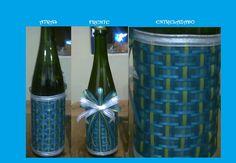 Esta botella decorada la hice como recuerdo de XV años, se coloco una en cada mesa.