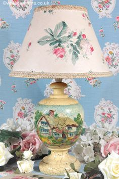 Vintage Home - Pretty 1930s Hand Painted Cottage Lamp: www.vintage-home.co.uk
