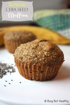 Banana Chia Seed Muffins are a fantastically moist muffin packed with nutrient rich chia seeds. Great gluten free and kid friendly muffin.