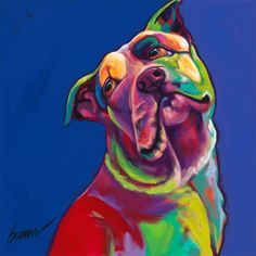 Love, love, love this pic!  This is a painting by Ron Burns of Cecil, a pit bull left to starve in a shopping center parking lot.  He is now an ambassador for the campaign to end dog fighting.