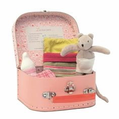 Moulin Roty La Grande Famille Baby Valise Sturdy cardboard suitcase for storage and play Baby Nini mouse wearing a nappy Includes a sleeping bag, a baby bottle (cloth), and a pair of bloomers Diaper Bassinet, Cardboard Suitcase, Suitcase Set, Kids Clothing Brands, Clothing Stores, Boutique Clothing, Baby Mouse, Baby Needs, Plush Animals