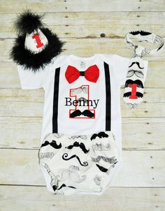 personalized mustache first birthday outfit, mustache cake smash, mustache tie, mustache party hat, black and white mustahe, red accents by RYLOwear on Etsy