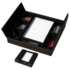 Black Leather Conference Room Organizer Promotional Products From Wood Arts Universe Metal Pen, Holiday Crafts For Kids, Office Essentials, Dollar Store Crafts, Organizing Your Home, Rubber Bands, Pen Holders, Room Organization, Coaster Set