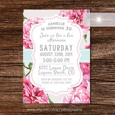 Floral Birthday Invitation, Peony Invite, Printable Peony Invitation, Pink Flower, Shabby Chic Invite, Birthday Party, Adult, jadorepaperie