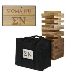 Show off your Sigma Nu spirit with this GIANT wooden tumble tower game! Blocks are laser engraved with the Sigma Nu logo as shown in the product image. This large Jenga-style tumbling tower includes 5