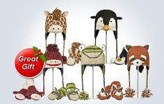 Knit Animal Hat   Mittens