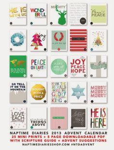 Advent calendar printable - via Kelly's Korner