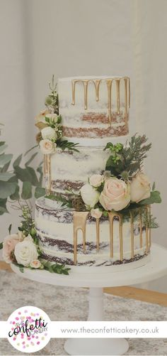 Semi-naked wedding cake with gold drips and fresh flower and foliage decoration. Semi-naked wedding cake with gold drips and fresh flower and foliage decoration. Image: The Confetti Cakery. Seminaked Wedding Cake, Wedding Cake Rustic, Wedding Cakes With Flowers, Elegant Wedding Cakes, Beautiful Wedding Cakes, Wedding Cake Designs, Beautiful Cakes, Wedding Rings, Lace Wedding