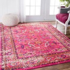 237.99 (5x7) nuLOOM Traditional Vintage Floral Distressed Pink Rug (5'3 x 7'7)
