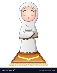 Muslim woman praying isolated on white background vector image on VectorStock Sheep Cartoon, Cartoon Kids, Girl Cartoon, Muslim Beliefs, Islamic Cartoon, Ramadan Crafts, Kids Background, Islam For Kids, Muslim Family