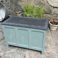 Blanket box revitalised in Duck Egg Blue and Graphite Chalk Paint ™ #anniesloan