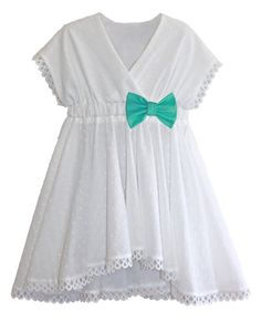 Swimsuit Coverup Kimono Dress in White Swiss Dot & Your Choice of Bow: 2018 Collection (Size XS - XL