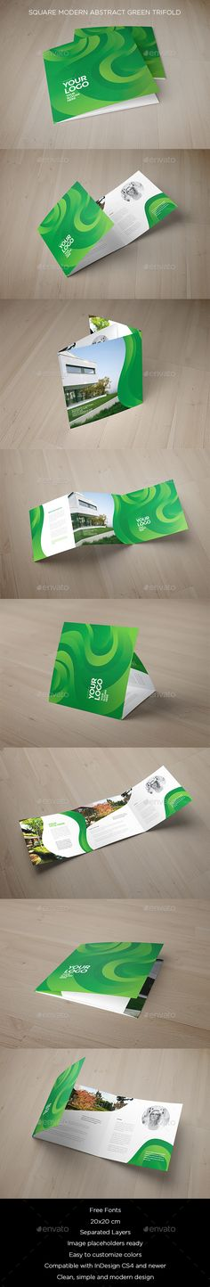 Square Modern Abstract Green Trifold - #Brochures Print #Templates Download here: https://graphicriver.net/item/square-modern-abstract-green-trifold/19215341?ref=alena994