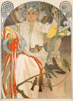 songesoleil:  Spring festival of song and music in Prague.1914. Lithograph in colours. 143 x 71 cm.  Art by Alphonse Mucha.(1860-1939).