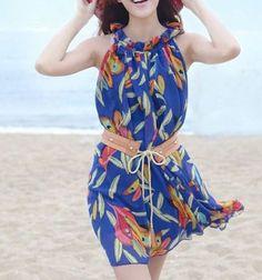 Tropical V Neck Sleeveless Blue Chiffon Beach Dress