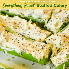Everything Bagel Stuffed Celery is a low-carb appetizer that combines everything bagel seasoning with cream cheese and then stuffed in celery to make a simple 3-ingredient keto snack. Celery Snacks, Celery Recipes, Low Carb Appetizers, Appetizer Recipes, Dinner Recipes, Yummy Recipes, Yummy Food, Allergy Free Recipes, Low Carb Recipes