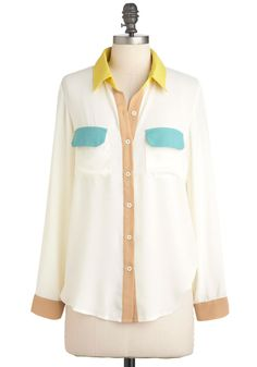 THIS I like!  $44  Miami What I Am Top - Cream, Yellow, Green, Brown, Color Block, Buttons, Pockets, Long Sleeve, Mid-length, Casual, Colorblocking