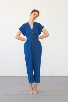 AIKO jumpsuit (washed indigo cotton) via Heinui. Click on the image to see more!