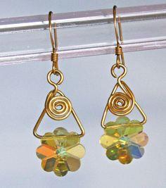 Yellow  Flower Earring Vintage Swarovski Crystal 14KGF by STBridal