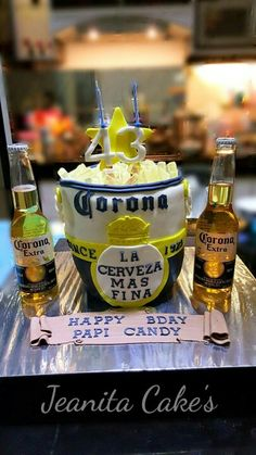 Corona beer cake Halloween Theme Birthday, Liquor Cake, Cake Tower, Cocktail Gifts, Cakes For Men, Rose Cake, Corona Beer, Diy Cake, Beautiful Cakes