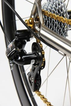 Campagnolo carbon derailleur and gold chain