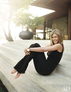 """Jennifer Aniston collaborated with designer Stephen Shadley to transform a 1970 residence by Harold W. Levitt in Beverly Hills into an inviting retreat where she hosts frequent gatherings. """"The making of the house was as significant to me as the living in it,"""" says the former Friends star."""