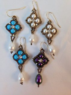 FREE Tutorial - Reversible Crazy for Pearls Earrings by Bronzepony Beaded Jewelry