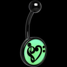Black Titanium Bass Treble Clef Heart Glow in the Dark Belly Ring   Body Candy Body Jewelry #bodycandy