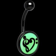 Black Titanium Bass Treble Clef Heart Glow in the Dark Belly Ring | Body Candy Body Jewelry #bodycandy