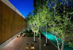 Architecture, Cool Marcio Kogan Casa Panama House By Studio MK27 In Sao Paulo Brazil Featuring Exterior Design With Wooden Wall Facade, Terrace, Pool And Plants: Contemporary Airy House Design with Huge Dimension