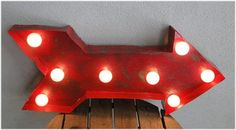 Lighted Retro Arrow Sign in Metal by TheKingsBay on Etsy, $119.00