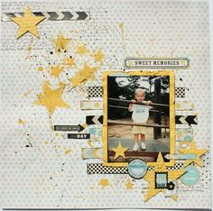 #papercraft @Mrs. Coleman #layout Sweet Memories by Melisa Waldorf via Two Peas in a Bucket