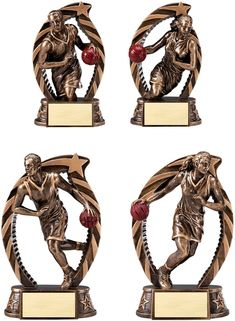 Bronze and gold finish basketball resin trophy. Design and quality makes for a great presentation award. Includes a personalized engraving plate with 3 lines of engraving. 30 characters/spaces per line! Basketball Trophies, Trophy Design, Great Presentations, Resin, Plate, Bronze, Characters, Hand Painted, Spaces