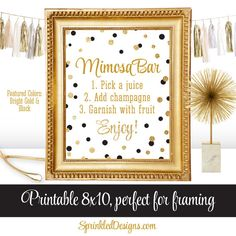 Mimosa Bar Party Sign - Black White Gold Glitter Baby or Bridal Shower Ideas - Monograms and Mimosas Party - Birthday Printable 8x10 Sign