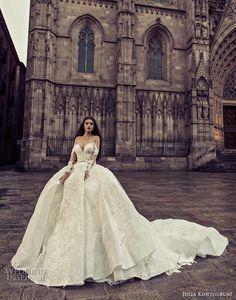 julia kontogruni 2018 bridal long sleeves sweetheart neckline full embelllishment princess ball gown wedding dress sheer button back royal train (1) mv -- Julia Kontogruni 2018 Wedding Dresses