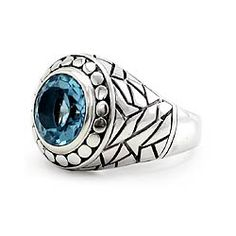 Men's Blue Topaz 'Blue Ocean' Signet Ring (Indonesia) Blue Topaz Men's Rings Sterling Silver