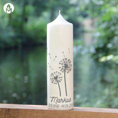 moderne und individuelle Trauerkerze Pusteblume machs-licht-an Kerzenshop Stumpenkerze Trauerfeier Kirche